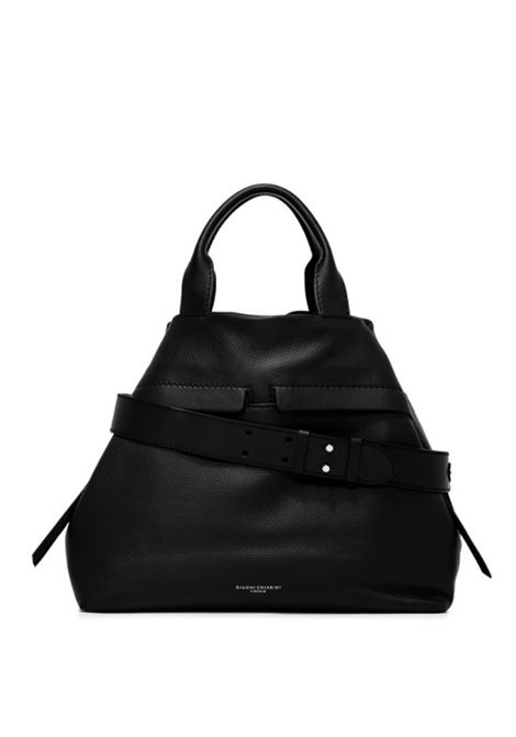 Women's Cross-body Bag Duna In Black Leather And Black Suede With Double Leather Handles And Adjustable And Detachable Cross-body leather Strap Gianni Chiarini | Bags and backpacks | BS8232015