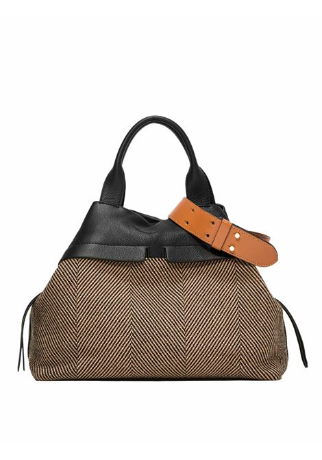Women's Cross-body Bag Duna In Black Leather And Herringbone Fabric In Matching With Double Leather Handles And Adjustable And Detachable Cross-body leather Strap Gianni Chiarini | Bags and backpacks | BS823210313