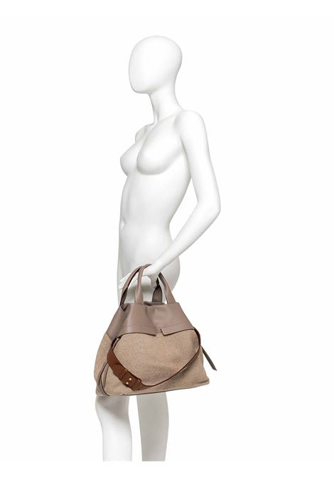 Women's Cross-body Bag Duna In Grey Leather And Herringbone Fabric In Matching With Double Leather Handles And Adjustable And Detachable Cross-body leather Strap Gianni Chiarini | Bags and backpacks | BS823212184