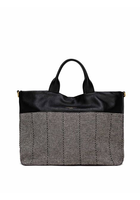 Women's Cross-body Bag Duna In Black Leather And Grey Fabric With Double Leather Handles And Adjustable And Detachable Cross-body leather Strap Gianni Chiarini | Bags and backpacks | BS8232G10313