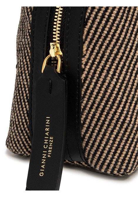 Women's Clucth Bag Alifa In Natural And Black Herringbone Fabric And Black Leather Inserts With Adjustable And Detachable Cross-body Strap Gianni Chiarini | Bags and backpacks | BS825810313