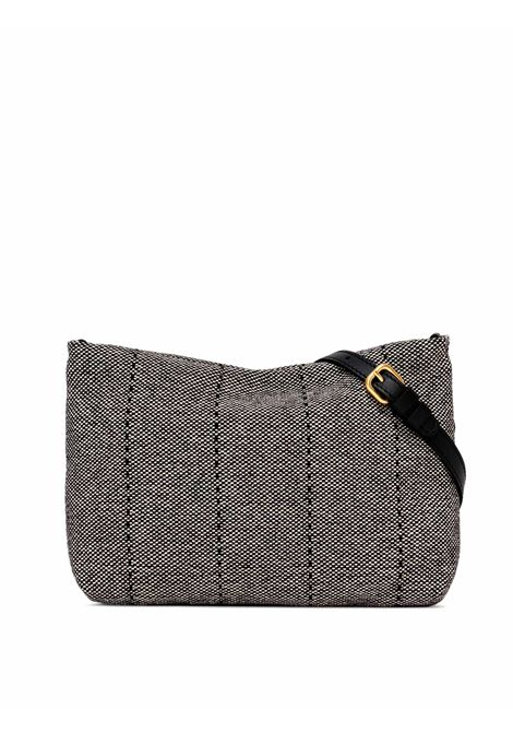 Woman's Shoulder Bag Mini Brenda In Black Leather And Grey Fabric With Color Matched Chain And Adjustable And Detachable Cross-body Strap Gianni Chiarini | Bags and backpacks | BS826510313