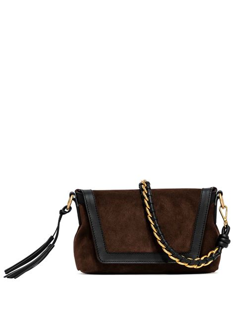 Women's Shoulder Bag Africa In Brown Suede And Black Leather Braided Handle And Adjustable and Detachable Leather Cross-body Strap Gianni Chiarini | Bags and backpacks | BS83761731