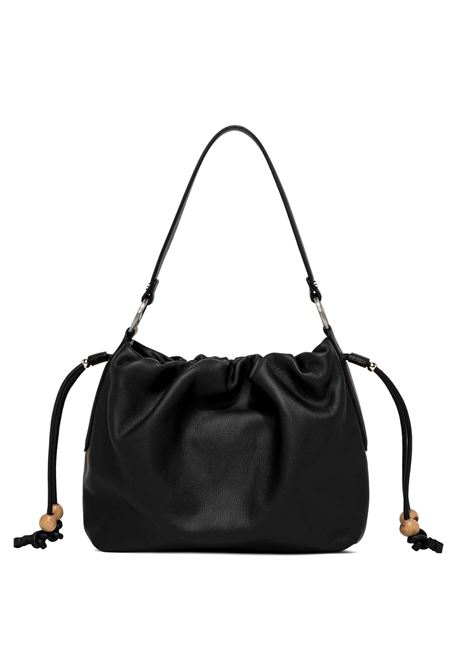 Women's Shoulder Bag Peonia In Black Leather with Cross-body Strap In Matching Color and Drawstring Closure Gianni Chiarini | Bags and backpacks | BS8420001