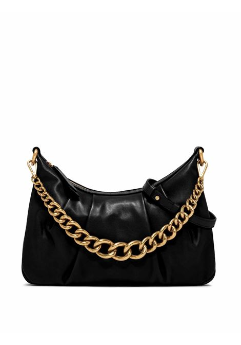 Women's Shoulder Bag Bonnie in Black Curled Leather with Gold Chain Handle and Adjustable and Detachable Leather Cross-body Strap Gianni Chiarini | Bags and backpacks | BS8551001