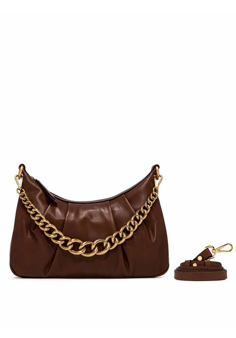 Women's Shoulder Bag Bonnie in Tan Curled Leather with Gold Chain Handle and Adjustable and Detachable Leather Cross-body Strap Gianni Chiarini | Bags and backpacks | BS8551231
