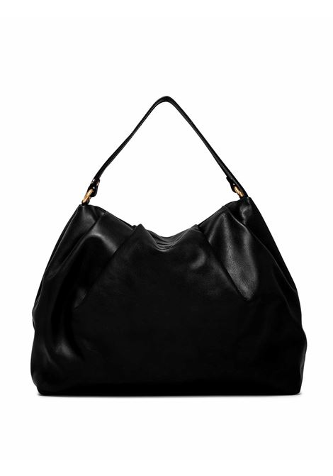 Women's Shoulder Bag Bonnie in Black Curled Leather with Double Handles and Adjustable and Detachable Leather Cross-body Strap Gianni Chiarini | Bags and backpacks | BS8553001