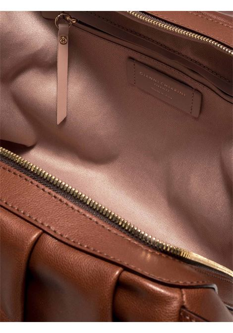 Women's Shoulder Bag Bonnie in Tan Curled Leather with Double Handles and Adjustable and Detachable Leather Cross-body Strap Gianni Chiarini | Bags and backpacks | BS8553231