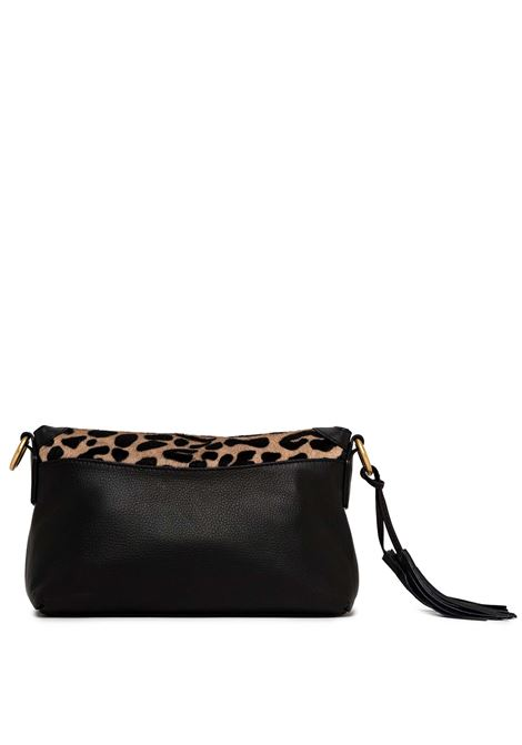 Women's Shoulder Bag Africa in Black Leather And Pony Skin Braided Handle and Adjustable and Detachable Leather Cross-body Strap Gianni Chiarini | Bags and backpacks | BS868610730