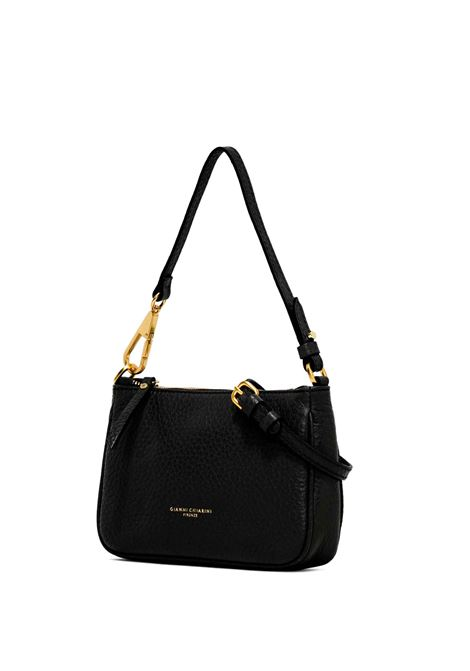 Women's Clutch Shoulder Bag Brooke In Black Leather Matching Leather Handle with Gold Side Hook and Adjustable and Detachable Leather Cross-body Strap Gianni Chiarini | Bags and backpacks | BS8750001