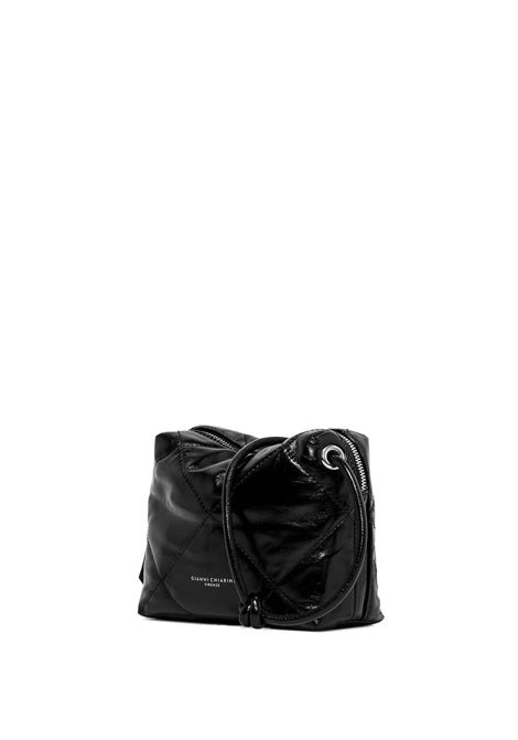 Women's Kate Clutch Bag in Glossy Black Leather with Adjustable Leather Shoulder Strap in Color Matching Gianni Chiarini | Bags and backpacks | BS8835001