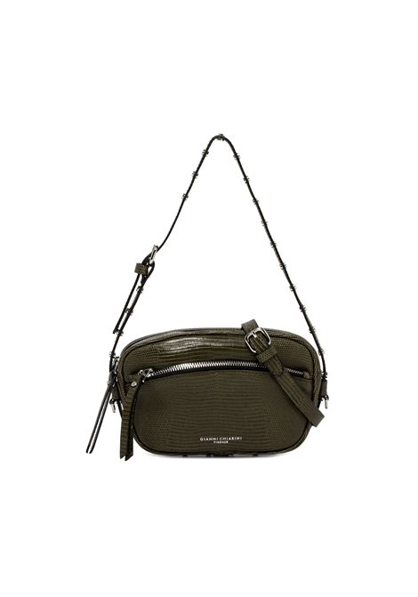 Women's Bag Pouch Molly in Green Animal Print Leather with Mini Studs and Matching Shoulder Strap Gianni Chiarini | Bags and backpacks | BS88457390