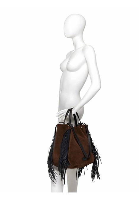 Women's Accessories Shoulder Bag Tulip in Dark Brown Suede with Golden Suede and Leather Finges  Gianni Chiarini | Bags and backpacks | BS88651371