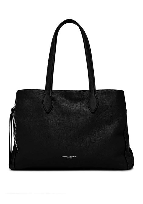 Women's Shoulder Bag Twin in Black Hammered Leather with Two Handles and Side Zips Gianni Chiarini | Bags and backpacks | BS8869001