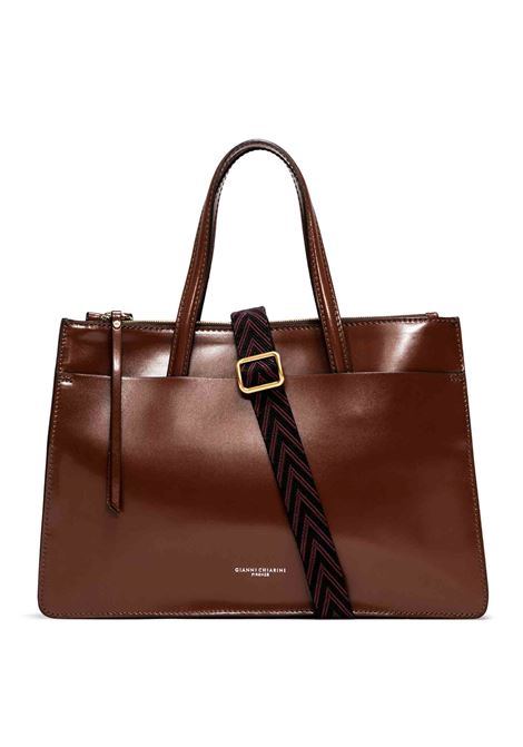 Women's Shoulder Bag Empire In Tobacco Patent Leather With Double Handles And Adjustable And Detachable Cross-body Strap Gianni Chiarini | Bags and backpacks | BS8880231
