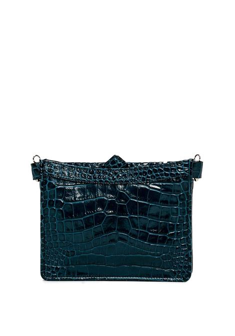Women's Vanessa Shoulder Bag in Blue Printed Leather with Silver Chain and Adjustable and Detachable Matching Colour Leather Strap Gianni Chiarini | Bags and backpacks | BS893012067