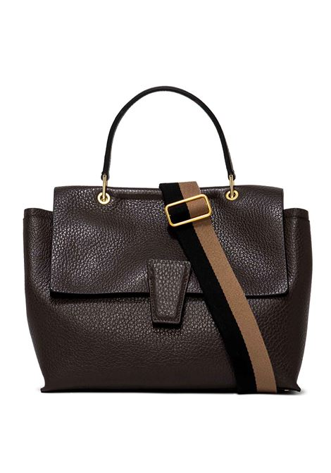 Women's Shoulder Bag Elettra in Dark Brown Grained Leather with Adjustable and Detachable Fabric Shoulder Strap Gianni Chiarini | Bags and backpacks | BS90029017