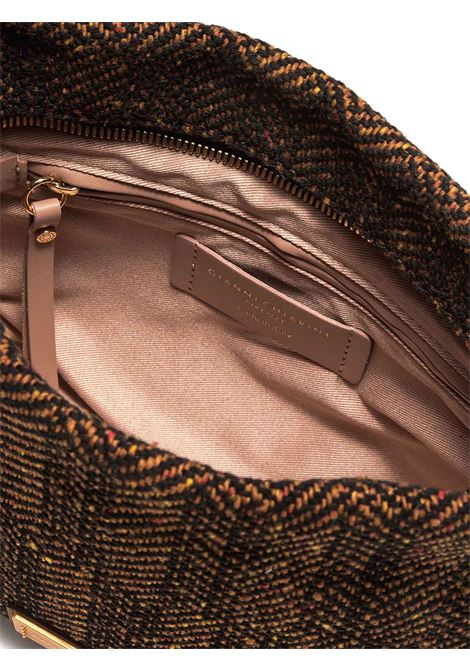 Women's Alyssa Clutch Shoulder Bag in Tan Fabric with Tone Leather Inserts and Adjustable Leather Shoulder Strap and Gold Buckle Gianni Chiarini | Bags and backpacks | BS902211130