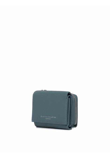 Accessori Donna Portafoglio Grain in Pelle Blu Con Chiusura a Pressione e Zip Gianni Chiarini | Portafogli | PFW506512064