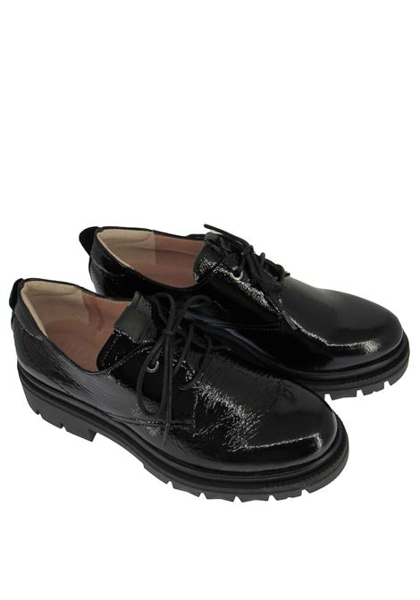 Women's Shoes Lace-up Alison in Black Soft Patent Leather with Rubber Sole Tank in Tone Hispanitas | Lace up shoes | HI211862001