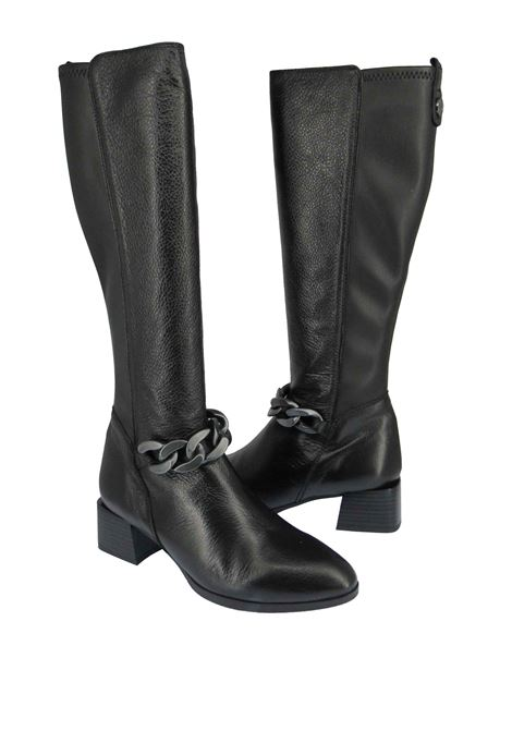 Women's Alpes Boots in Black Leather with Brunished Chain and Leather Heel in Tone Hispanitas | Boots | HI211920001