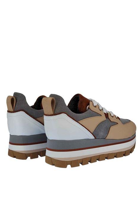 Calzature Donna Sneakers Hope Margot in Pelle Beige e Camoscio Grigio con Fondo in Gomma Carrarmato Janet & Janet | Sneakers | 02050015