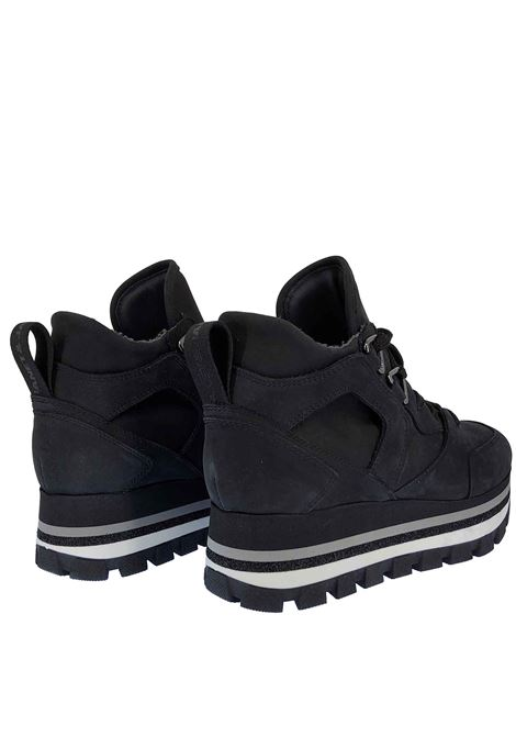 Women's Sneakers Fleur Margot in Leather and Black Suede with Rubber Bottom Tank Janet & Janet | Sneakers | 02052001
