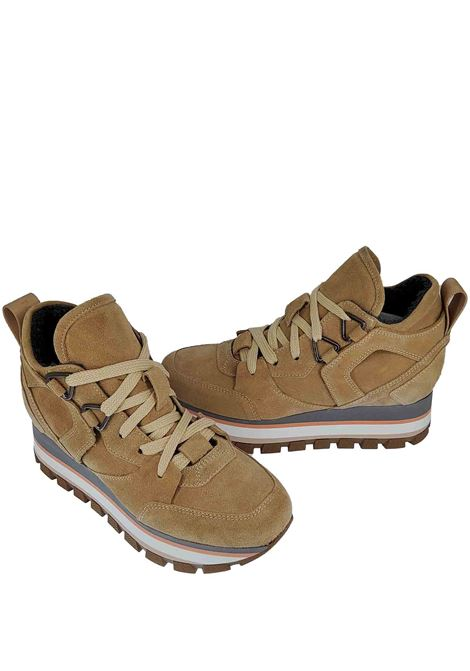 Women's Sneakers Fleur Margot in Leather and Beige Suede with Rubber Bottom Tank Janet & Janet | Sneakers | 02052040