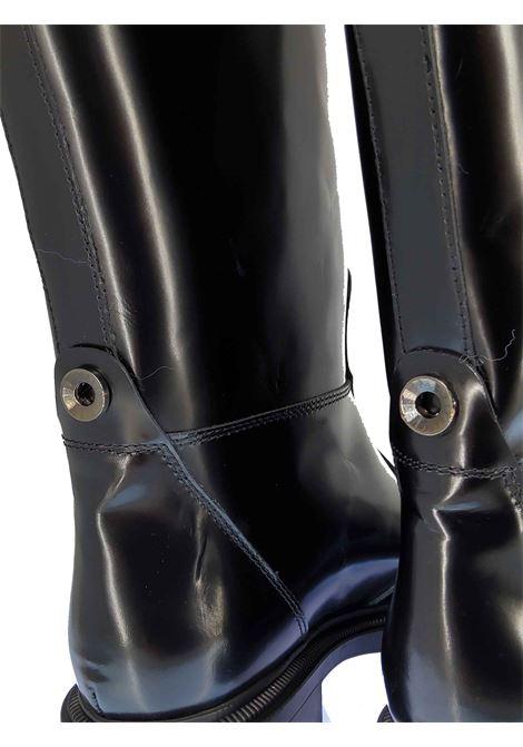 Calzature Donna Stivali Cavallerizza in Pelle Nera Lucida con Cinturino e Fondo in Gomma in Tinta Janet & Janet | Stivali | 02150001