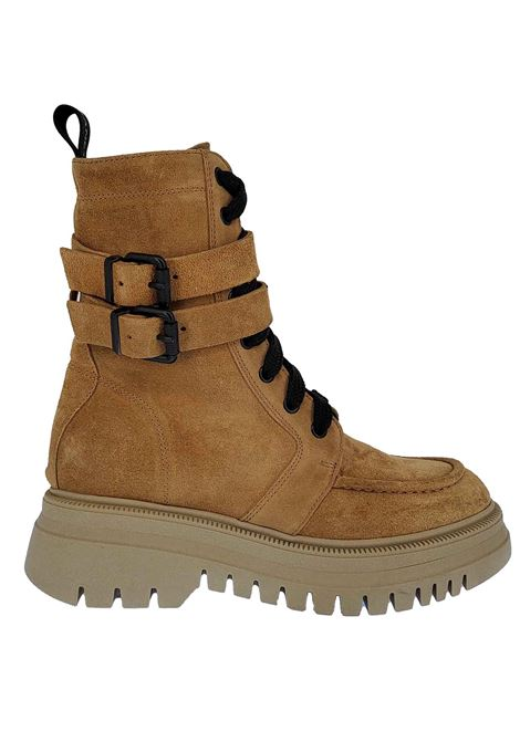 Women's Shoes Anfibi Combat Boot Margot Ruby in Beige Suede Laced with Double Strap and Rubber Tank Sole Janet & Janet | Ankle Boots | 02200025