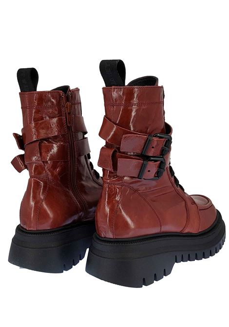 Women's Footwear Anfibi Combat Boot Margot Ruby in Brick Patent Leather Laced with Double Strap and Rubber Tank Bottom Janet & Janet | Ankle Boots | 02200030