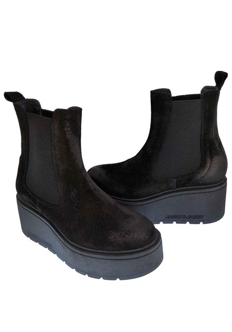Women's Shoes Margot Beatles in Black Suede with Matching Side Elastics Black Rubber Wedge Sole Janet & Janet | Ankle Boots | 02302001