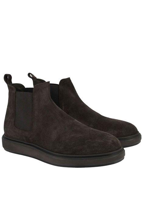 Calzature Uomo Stivaletti Chelsea Boot in Camoscio Marrone e Fondo Gomma Zeppa Jerold Wilton | Stivaletti | 1072CAM/MORO