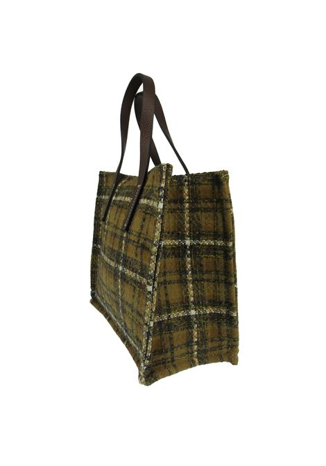 Women's Mini Handbags in Mustard Madras Fabric with Mustard Leather Handles Kassiopea | Bags and backpacks | 1/2 UMILTA465