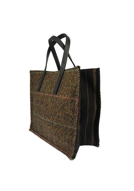 Borse Donna Mini Bag in Tessuto Madras Marrone con Manici in Pelle Marrone Kassiopea | Borse e zaini | 1/2 UMILTA673