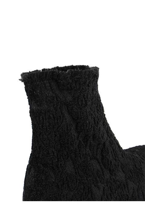 Calzature Donna Stivaletti in Tessuto Elasticizzato Jacquard Nero con Fondo Zeppa Gomma Carrarmato Le Babe | Stivaletti | 313001