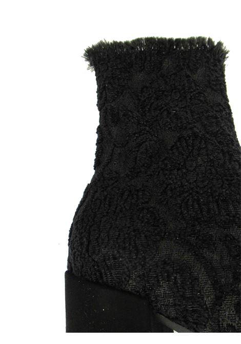 Calzature Donna Stivaletti in Tessuto Elasticizzato Jacquard Nero con Tacco Alto e Plateau in Gomma Le Babe | Stivali | 405001