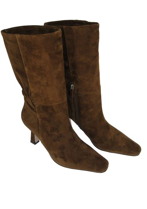 Women's Shoes Boots in Brown Suede with High Heel Square Toe and Elasticated Back Lola Cruz | Boots | 098B30BK012