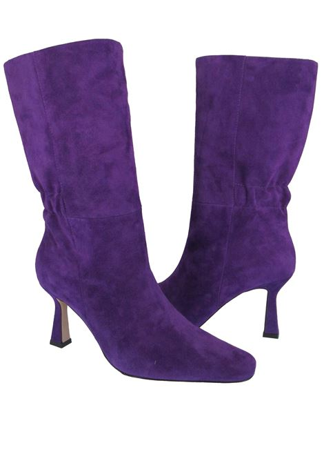 Women's Shoes Boots in Purple Suede with High Heel Square Toe and Elasticated Back Lola Cruz | Boots | 098B30BK037