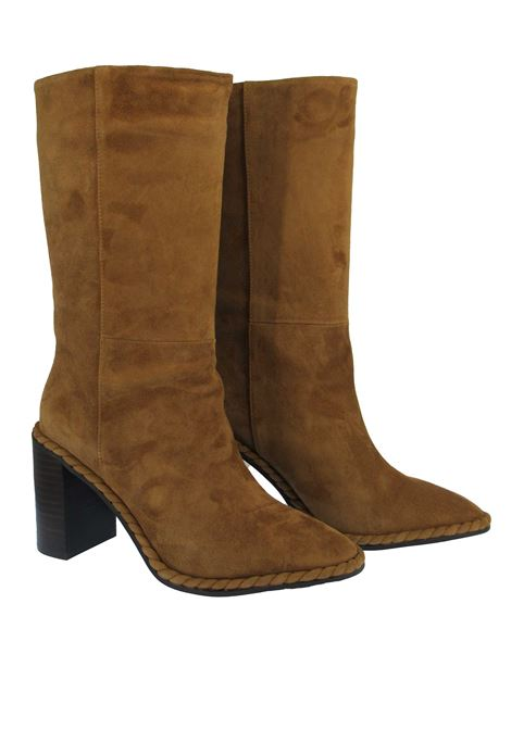 Women's Shoes Boot in Tan Suede with High Heel Semi Round Toe Without Zip Lola Cruz | Boots | 151B30BK025