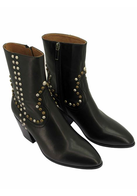 Women's Texan Ankle Boots in Black Leather with Bronze and Silver Studs Texan Heel Lola Cruz | Ankle Boots | 266T11BK001