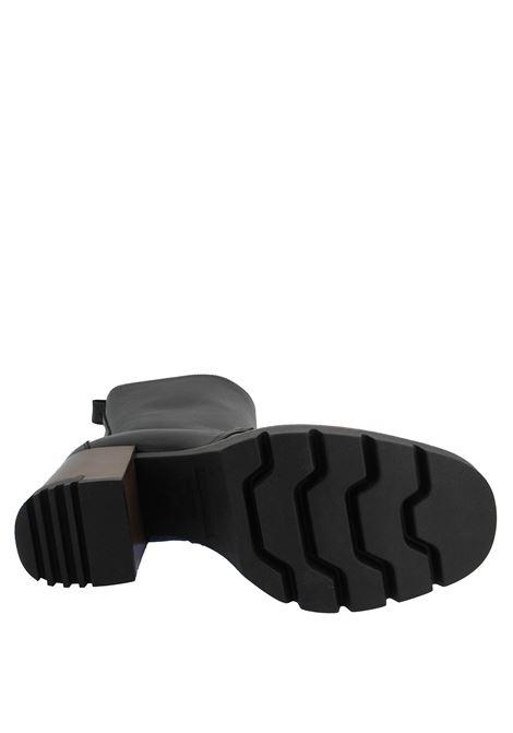 Calzature Donna Stivali in Pelle Nera con Vaschetta Cucita Tacco Alto e Plateau Carrarmato Lorenzo Mari | Stivali | ALAMEDA 02001