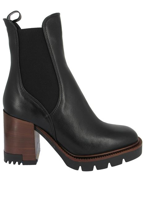 Women's Shoes Beatles Ankle Boots in Black Leather with Matching Elastics High Heel and Plateau Tank Lorenzo Mari | Ankle Boots | ALMEDA001