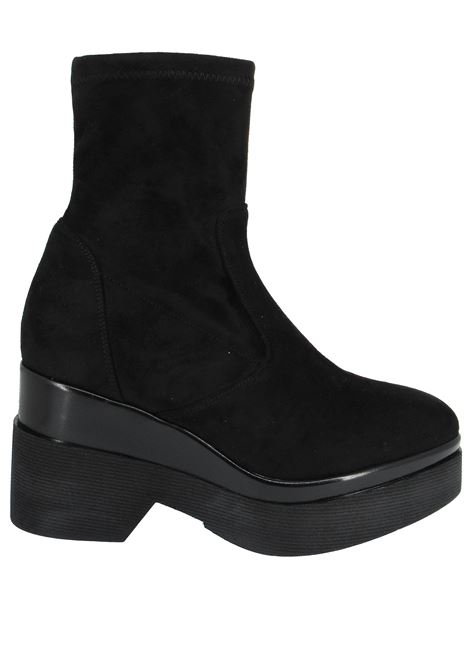 Women's Shoes Ankle Boots in Black Elastic Eco-Suede with High Pointed Wedge Lorenzo Mari | Ankle Boots | BAYVIEW001