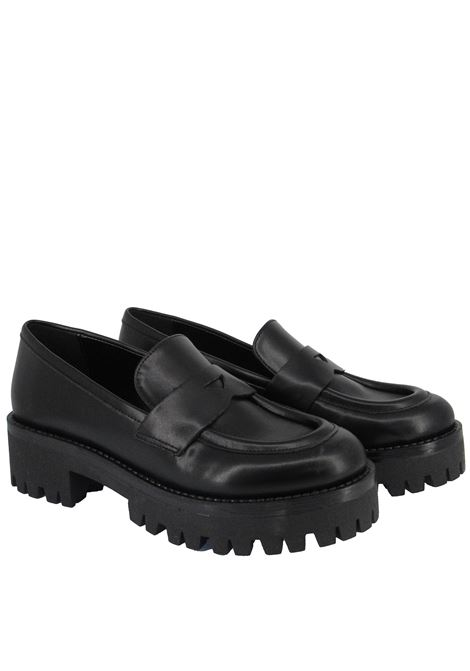 Women's Shoes Loafers in Black Leather with Bandage and Rubber Sole Tank Lorenzo Mari | Mocassins | SANTA BARBARA001