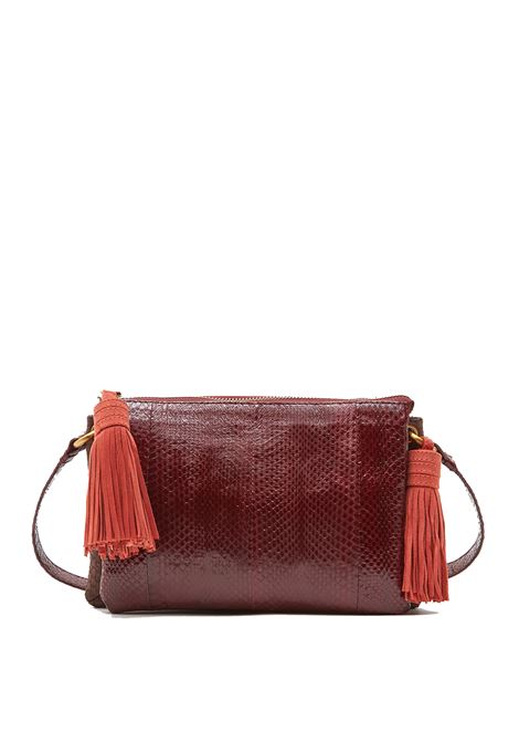 Women's Bag Shoulder Bag in Burgundy and Brown Water Snake Leather with Adjustable Cross-body Maliparmi | Bags and backpacks | BD00310146033B40