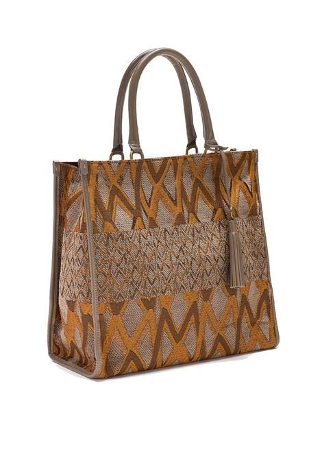 Women's Shopping Large Shoulder Bag Iconic Jacquard in Taupe Fabric with Patterned and Leather Handles Maliparmi | Bags and backpacks | BH024101406A3168