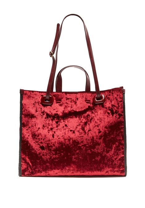 Women's Shopping Bag Velvet Grunge in Bourdeaux Velvet with Leather Handles and Cross-body Strap Maliparmi | Bags and backpacks | BH02416103033000