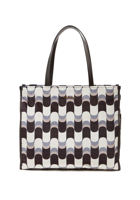 Women's Large Shopping Bag Printed Velvet in Grey and Beige Patterned Fabric with Leather Handles Maliparmi | Bags and backpacks | BH024161032A2159