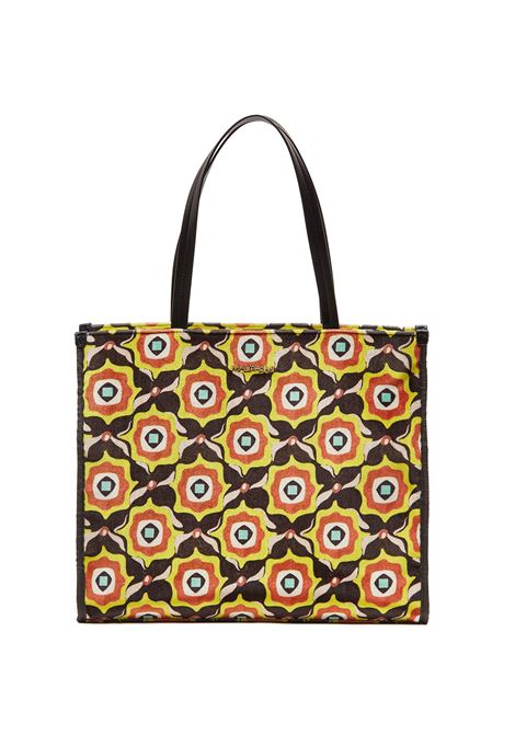 Women's Large Shopping Bag Printed Velvet in Black Patterned Fabric with Leather Handles Maliparmi | Bags and backpacks | BH024161032B2028